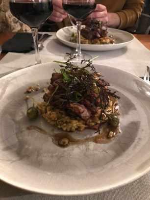 Magret de canard aux olives, risotto de langue d'oiseau